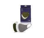 3 Pieces Unisex Face Mask Grey/Olive/White