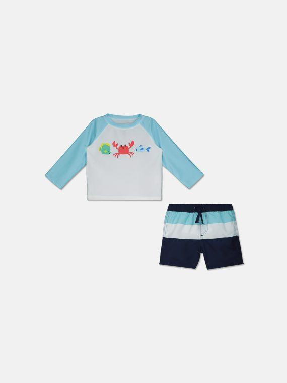 Baby Boys 2-Pc. Crab Rash Guard & Swim Trunks Set Bright White/Light Blue/Navy