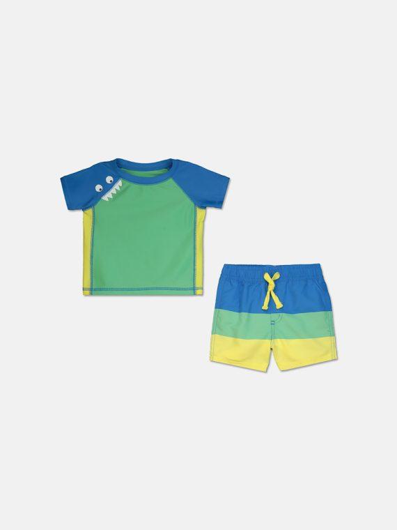 Baby Boys 2-Pc. Monster Rash Guard & Swim Trunks Set Sun Vally Green