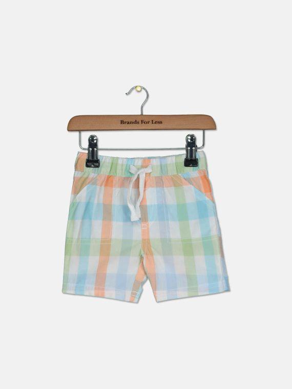 Baby Boys Plaid Cotton Shorts Bright White Combo