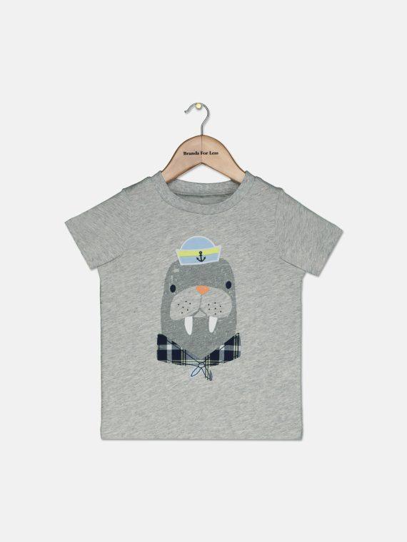 Baby Boys Walrus-Print T-Shirt Chrome Heather