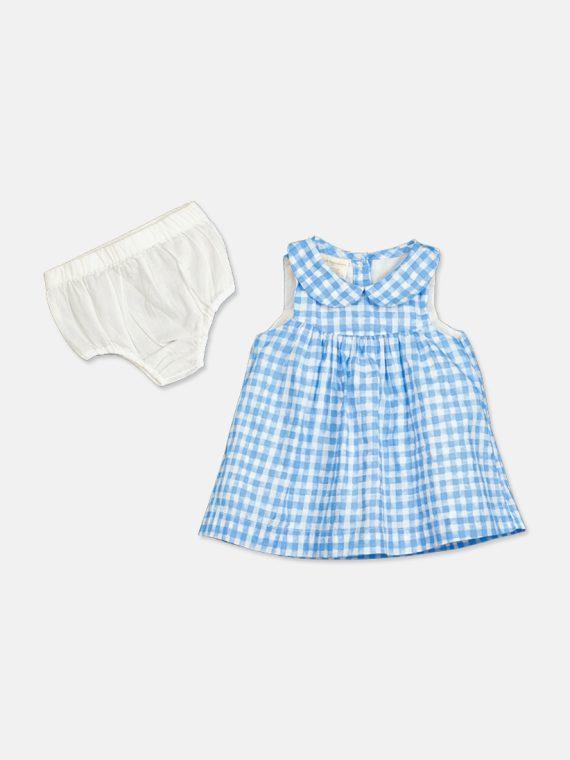 Baby Girls Gingham Cotton Sundress Rainy Blue