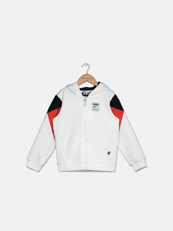 Kids Boys Rebel Block Full Zip Hoodie White/Red/Black