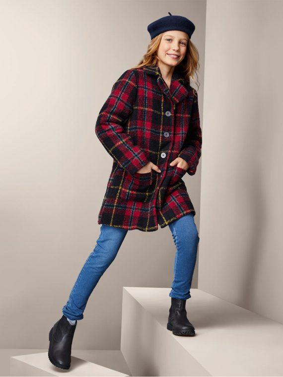 Kids Girls Checkered Coat Red Combo