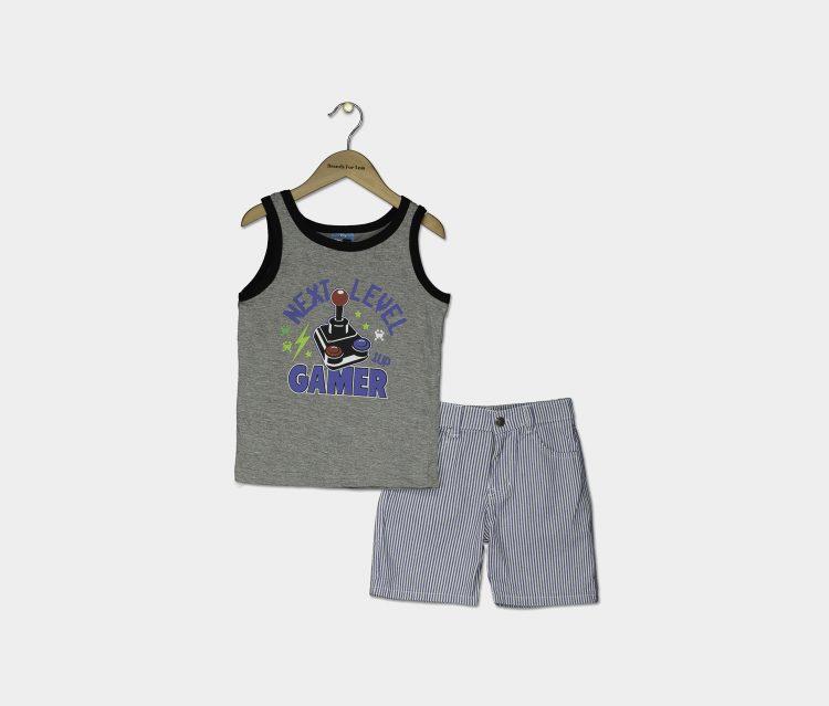 Little Boys Graphic Tank & Woven Short Set Gray Heather/White Stripe