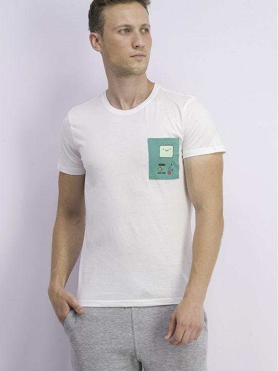 Mens Adventure Time Print Chest Pocket Tee White/Green