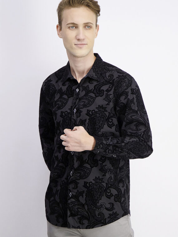 Mens Flocked Paisley Shirt Black Combo