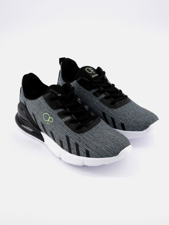 Mens ISAIAS Lace Up Running Shoes Gray//Black/Green