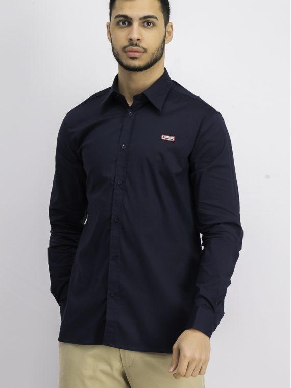 Mens Long Sleeve Regular Fit Casual Shirt Navy