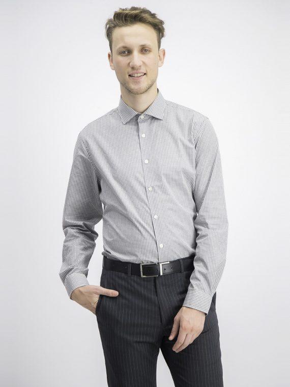 Mens Micro Checkered Longsleeve Dress Shirt Grey/White Combo