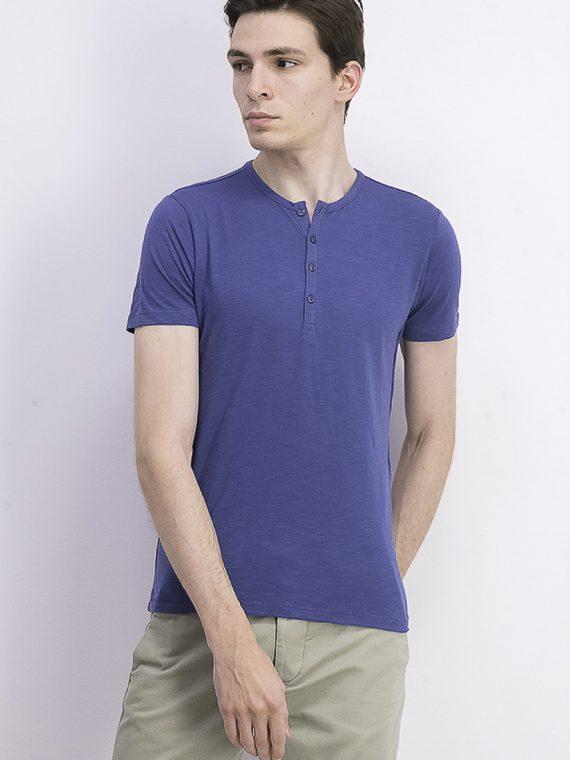 Mens Short Sleeve Henley Tee Blue