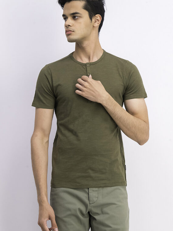 Mens Short Sleeve Henley Tee Olive