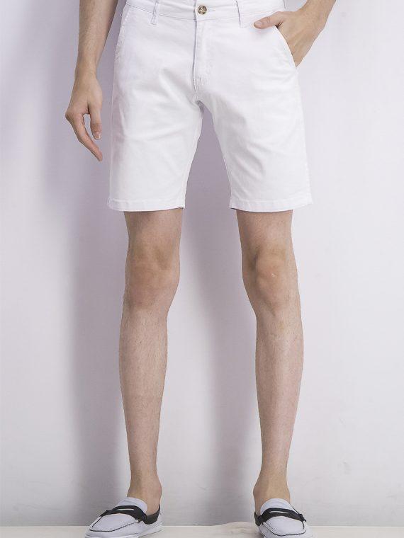 Mens Solid Slant Pocket Bermuda Shorts White