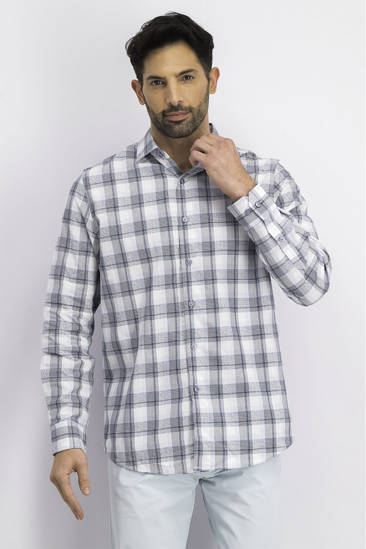 Mens Stretch Plaid Boucle Shirt Blue Combo