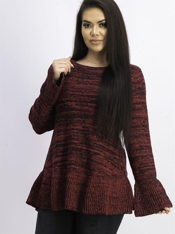 Womens Bell Sleeve Knit Sweater Red Polish/Deep Black