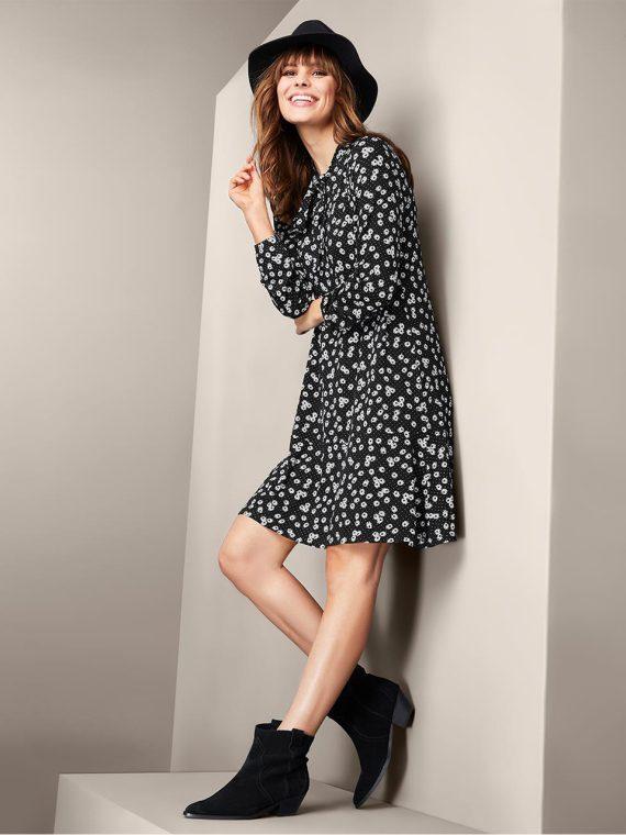 Womens Daisy Jersey Dress Black/White