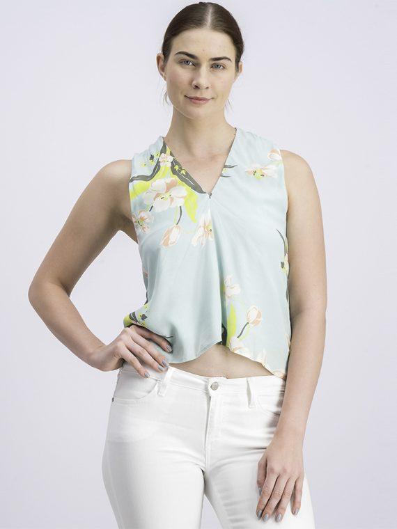 Womens Floral Cross-body Top Aqua Green