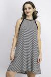 Womens Halter Neckline Stripe Dress Black/White