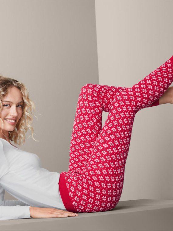 Womens Knitted Leggings Red White Combo