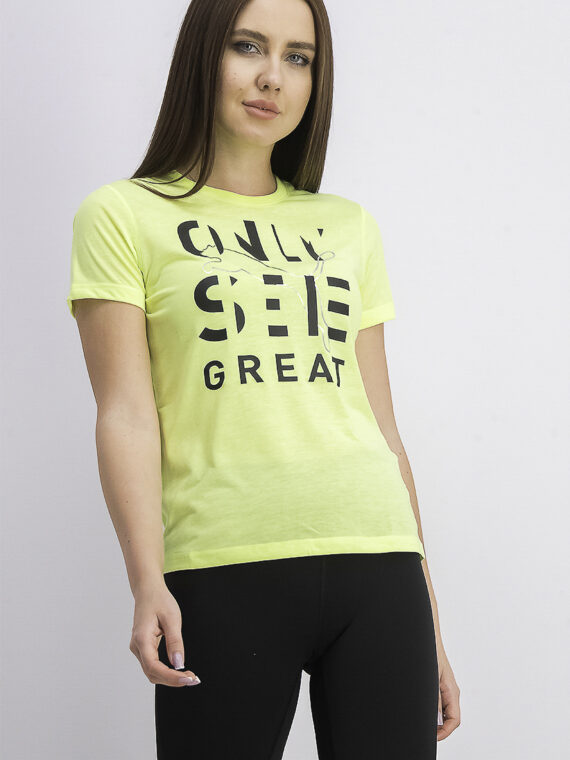 Womens Performance Slogan T-Shirt Fizzy Yellow