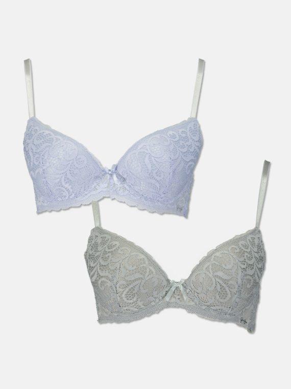 Womens Scroll Gallon Lace Set Of 2 Bra Lavender/Grey
