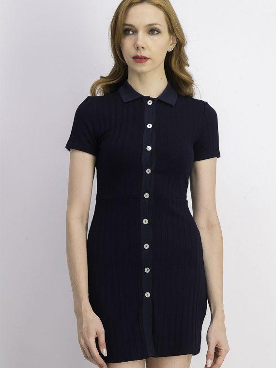 Womens Short Sleeve Polo Shirt Dress Navy