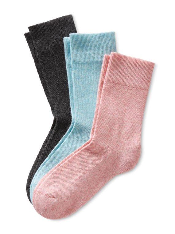 Womens Socks Set of 3 Anthracite/Light Blue/Pink