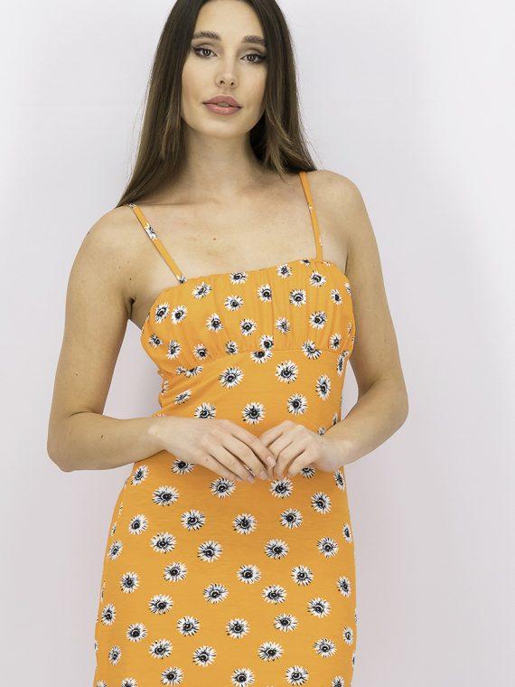 Womens Strappy Mini Dress Orange