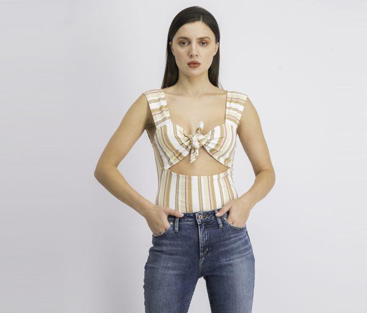 Womens Stripe Bodysuit Beige/White Combo