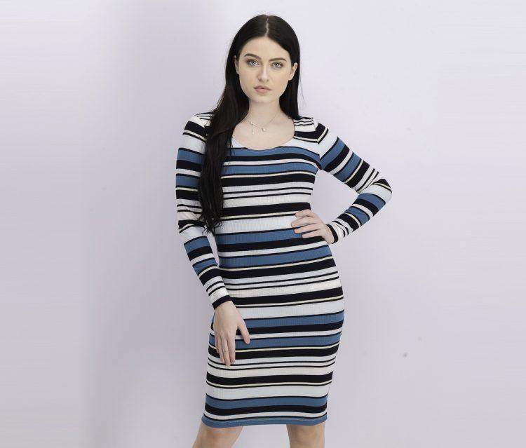 Womens Striped Long Sleeve Dress Black/Green/White