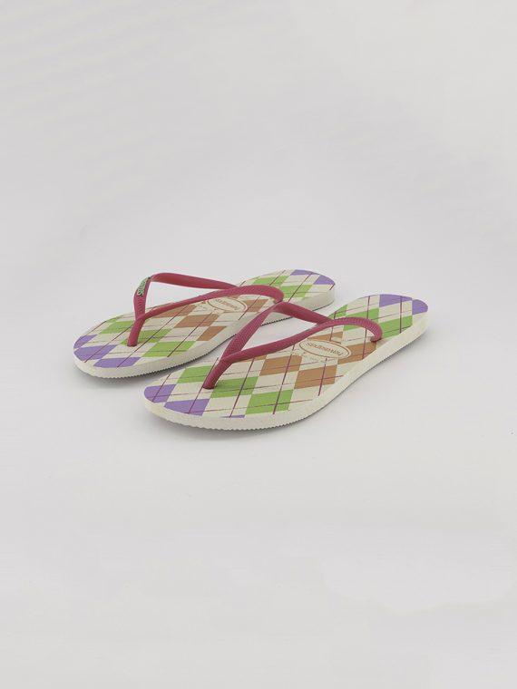 Womens Style 2 Slim Retro Slippers Rosa/White